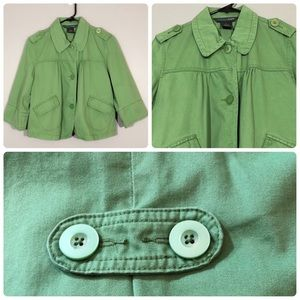 French Cuff Military Button Crop Pea Jacket Coat